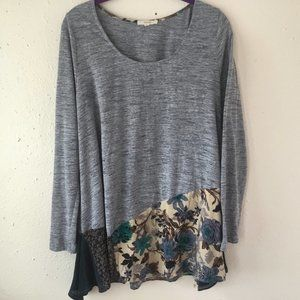 Easel Blue Floral Flowy High Low Tunic Shirt